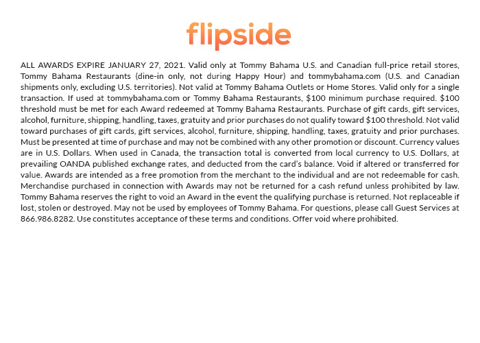 Flipside redemption now through January 27