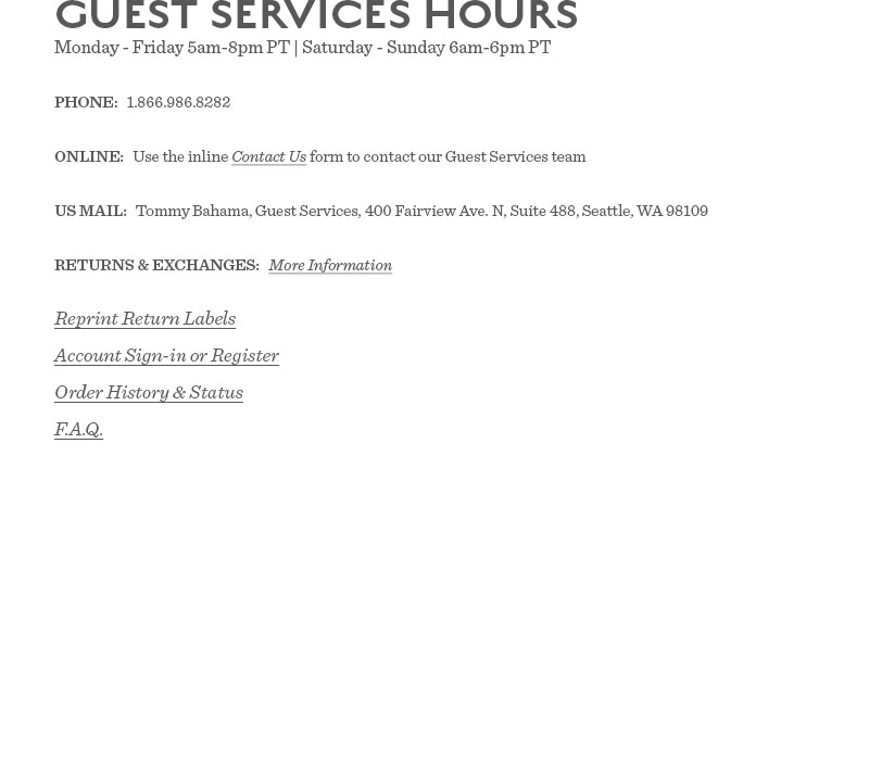 Guest Services Hours