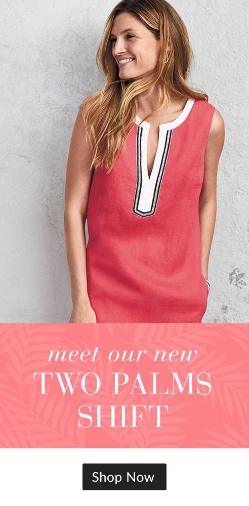 9d5335c6af quickshop NEW - Two Palms Embellished Linen Shift Dress