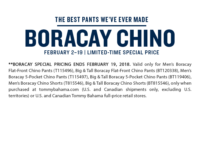 Limited Time Special Price on Boracay Chino Pants & Shorts
