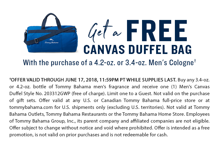Get a free canvas duffel bag with purchase of 4.2oz or 3.4oz men's cologne