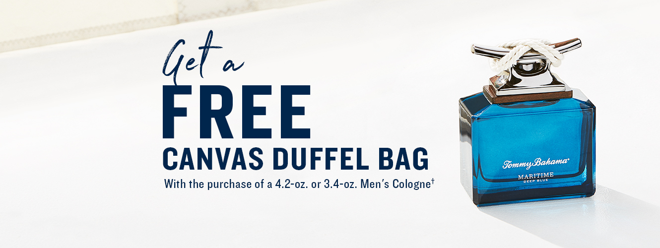 Get a free canvas duffel with purchase of 4.2oz or 3.4oz men's cologne
