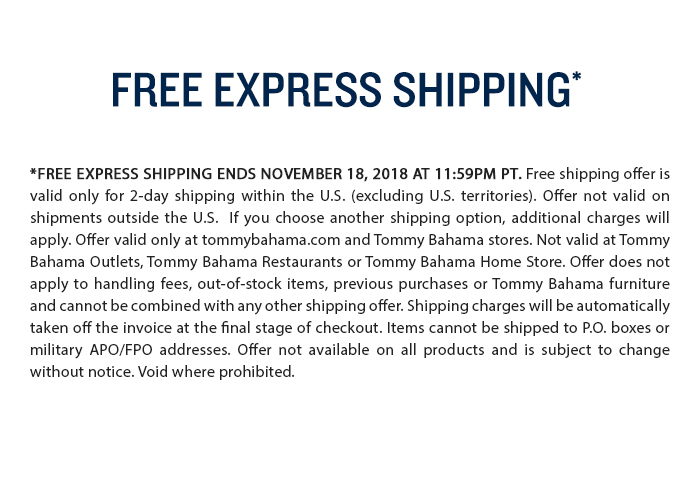 Free express shipping through November 18
