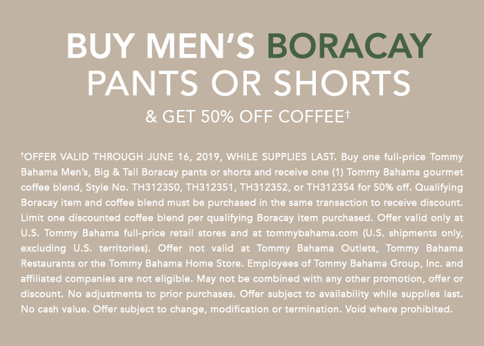 Buy Men's Boracay Pants or Shorts & Get 50% Off Coffee