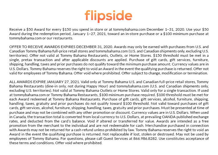 Flipside: Get a $50 Award for Every $150 You Spend**