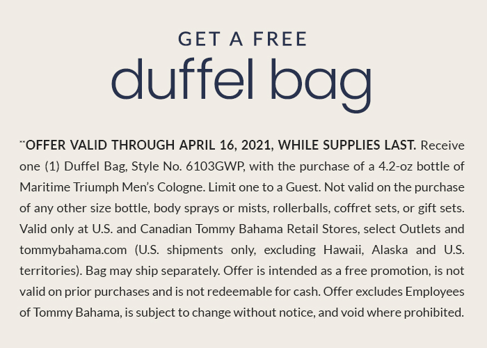 Get a Free Duffel Bag with the Purchase of Our New Maritime Triumph Cologne